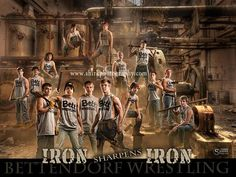 Wrestling Team. Iron Sharpens Iron. An epic poster for any sports team by Shirk Photography. The background is available as a template at - http://shirkphotography.com/for-photographers/products/sports-templates/?product_page=1.  not available to photographers within 200 miles of our studio