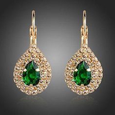 Gold Plated Green Cubic Zirconia Tear Drop Earrings  #rings #earrings #women #womensfashion #fashion #khaista #dresses #necklace #jewelry