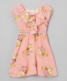 Look at this Just Kids Pink Floral Ruffle A-Line Dress - Girls on #zulily today!