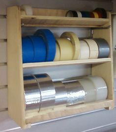 Tape Storage - Much better idea than the paper-towel style holders I'm using. Tape Storage - Much better idea than the paper-towel style holders I'm using. Tape Storage - Much better idea than Woodworking Workshop, Woodworking Jigs, Woodworking Projects, Wood Projects, Woodworking Basics, Woodworking Classes, Woodworking Tool Storage Ideas, Woodworking Furniture, Unique Woodworking