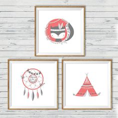 Teepee nursery wall art Instant download 10x10 by LlamaCreation