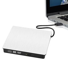 External DVD Writer External USB 30 CDRW DVDRW Burner Writer External DVD Drive for Laptops Notebook Desktop PC White Portable Ultra Slim *** You can get more details by clicking on the image.