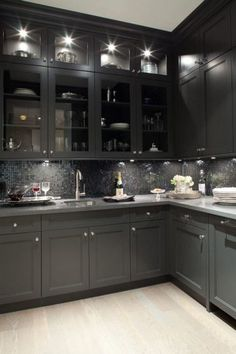 Grey Lighted Cabinets