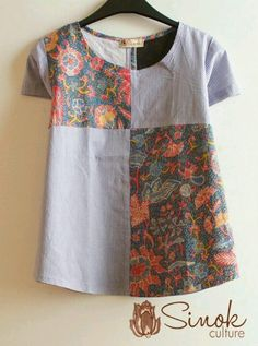 Ideas for patchwork clothes fashion ideas style Blouse Batik, Batik Dress, Blouse Dress, Kurta Designs, Blouse Designs, Diy Clothes, Clothes For Women, Sewing Blouses, Batik Fashion
