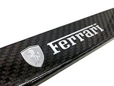 FERRARI Silver Logo Emblem Full Carbon Fiber License Plate Frame Gloss Finish CF Carbon Weave. For product info go to:  https://www.caraccessoriesonlinemarket.com/ferrari-silver-logo-emblem-full-carbon-fiber-license-plate-frame-gloss-finish-cf-carbon-weave/