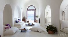 The living area of a dreamy home in Therassia, Greece.