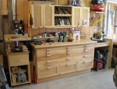 Setting up a garage workshop i like how the miter saw is level with the workbench . setting up a garage workshop Workshop Layout, Workshop Storage, Garage Workshop, Workshop Ideas, Workshop Organization, Tool Storage, Woodworking Shop Layout, Woodworking Workshop, Woodworking Jigs