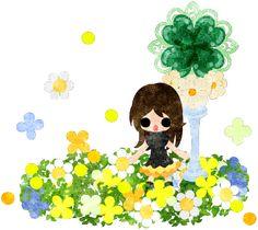 春のフリーのイラスト素材可愛い女の子とクローバーのオブジェ  Free Illustration of spring Acute girl and an object of clover   http://ift.tt/2nt9aXi