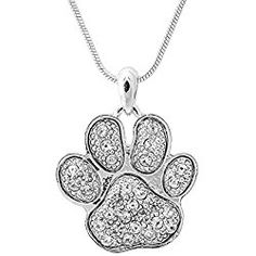 Spinningdaisy Silver Plated Crystal Lucky Dog Puppy Paw Necklace