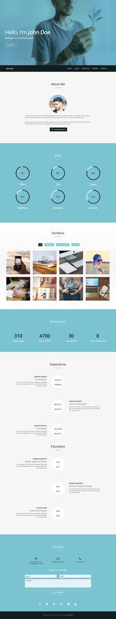 'Verum' is a FREE One Page HTML template with a resume-style layout. This responsive template hosts all the typical CV requirements like biography, skills (in infographics), work timeline, stats, contact form and even includes a bonus Lightbox-style portfolio section. A basic template but a nice freebie by TemplateWire to help get you online quickly in One Page.