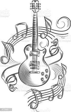 Music Drawings, Music Artwork, Art Drawings Sketches Simple, Pencil Art Drawings, Cool Drawings, Drawing Ideas, Drawing Art, Guitar Drawing, Guitar Art