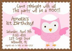 HOOT Owl Polka Dot Birthday Party Invitation