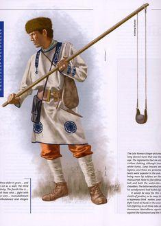 0400 - 0500 Roman Slinger 5th C. The sling-staff 4 feet long, lanzaba piedras de forma semejante a un mangonel.