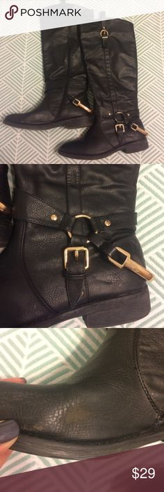 Cathy Jean black boots size 8 These Cathy Jean knee high boots are gently used. They have some scuffs and spots of wear. The metal on the heel has some scratches. They are a true size 8 Cathy Jean Shoes Ankle Boots & Booties