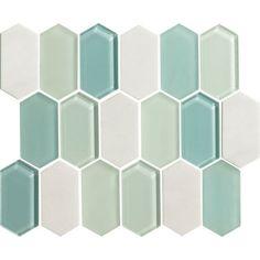 American Olean Entourage Alair - Mint - X Long Hexagon Glass & Stone Mosaic Tile - Sample Cheap Backsplash Tile, Penny Backsplash, Quartz Backsplash, Black Backsplash, Beadboard Backsplash, Herringbone Backsplash, Backsplash Ideas, Kitchen Backsplash, Ceramic Mosaic Tile