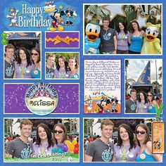 Disney Scrapbook Page - A Disney Birthday by Melissa of Melidy Designs - Love how this page manages to include 6 photos but doesn't look at all crowded. And it also has so many interesting details in the non-photo areas!