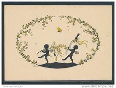 CPA Illustrateur Elsbeth Forck: zwei Elfen tragen eine Flasche, Schmetterling