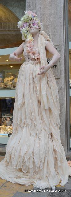 Spring living statues Living Statue, Statues, Flower Girl Dresses, Costumes, Wedding Dresses, Spring, Inspiration, Street, Fashion
