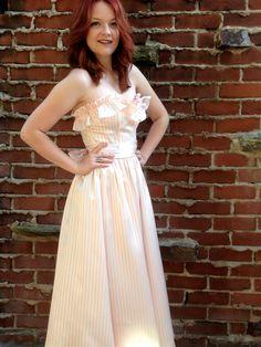 Vintage 80s Pink Striped Gunne Sax Dress by UglyAmericanVintage