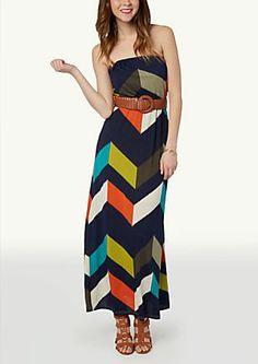 image of Belted Tube Maxi Dress