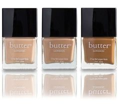 Butter London Starkers Lacquer Collection in (from left to right) Shandy, Crumpet and Tea & Toast Nexgen Nails Colors, Color For Nails, Pretty Nail Colors, Nude Nails, Basic Nails, Different Skin Tones, Chanel, Nail Polish Designs, Nail Design