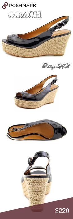 🆕 Coach patent leather sling back wedge sandals The lacquer-like finish of patent leather lends unexpected shine to this dramatic slingback silhouette. Braided natural jute covers the wedge heel, a striking textural contrast with the smooth leather upper. Brand new in wrong box. Coach Shoes