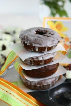 Baked Chocolate Pumpkin Spelt Doughnuts