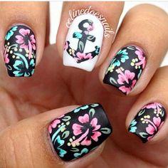 floral anchor nails | Nails & Makeup! | Pinterest