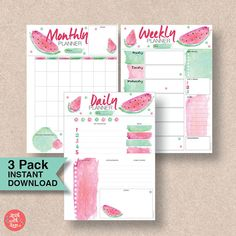 Make the most of 2017 with this gorgeous watermelon A5 filofax pack, containing daily, weekly and monthly A5 planner printables. Buy once and print them again and again.