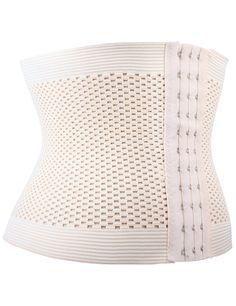 (NKLB6422) Spandex 3 Hooks White Bodyshaper Belt