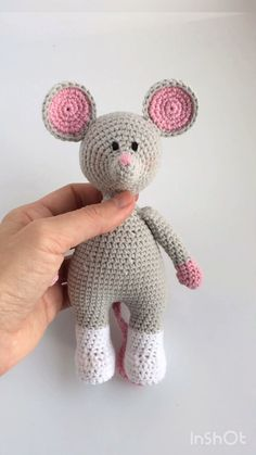 Crochet pattern Mouse, tutorial outfit, Christmas toy (pdf) ---- Pattern Mouse+outfit cm) English language Pdf format pages) 75 photos ---- Materials and tools: YarnArt jeans m, acrylic, color: grey (№ pink (№ white (№ Size № 2 crochet hook Polyfill fiber Crochet Mouse, Crochet Teddy, Crochet Bunny, Crochet Patterns Amigurumi, Amigurumi Doll, Crochet Dolls, Crochet Pattern Free, Crochet Animal Patterns, Stuffed Animal Patterns