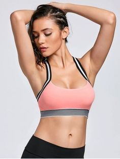 Cute Workout Outfits, Cool Outfits, Athleisure, Zumba, Mode Chic, Racerback Sports Bra, Pink Sports Bra, Bra Styles, Athletic Wear