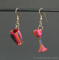 "Vase & Goblet Earrings - 14k Gold Fill - Miniatures - ""Candy Shop"" Hardwood - (DAYSTAR) Katherine Kowalski woodturning via Etsy."
