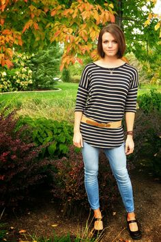 Striped Shirt with Jeans and Mary Jane Wedges