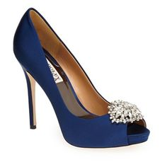 """Badgley Mischka 'Jeannie' Crystal Trim Open Toe Pump, 4 1/4"""" heel (240 CAD) ❤ liked on Polyvore featuring shoes, pumps, heels, navy satin, high heel shoes, navy blue shoes, evening shoes, platform pumps and platform shoes"""