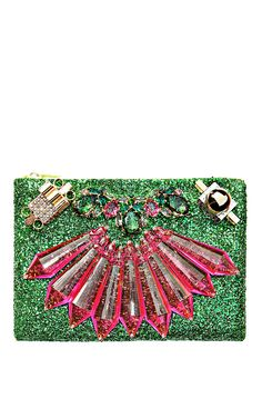 Shop Mawi Mirrored Tubes, Teadrop Crystals and Perxpex Spikes Single Glitter Clutch at Moda Operandi