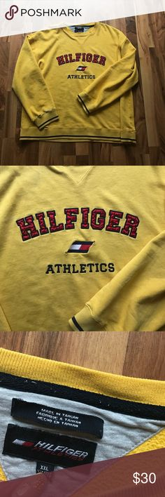 Tommy Hilfiger sweater Vintage Tommy Hilfiger crew neck . Has some cuts at the end of the sleeves (to give a vintage look) very nice soft material. Size XL but fits like a Large (I like oversized clothing) Tommy Hilfiger Sweaters Crewneck