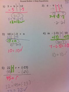 Middle School Math Rules!: Round Robin One-Step Equations