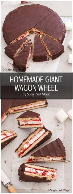 An oversized Wagon Wheel to share with everyone. Delicious biscuit, marshmallow and raspberry jam all smothered in dark chocolate Wagon Wheel Biscuit, Wheel Cake, Individual Pies, Slow Cooked Lamb, Flaky Pastry, Baking Tins, Brownie Bar, Melting Chocolate, Tray Bakes