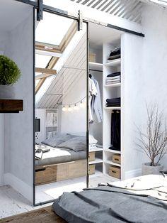 Bedroom Interior Design Trends for THIS YEAR! Tags: bedroom interior design… – All For Decoration Attic Bedrooms, Closet Bedroom, Home Bedroom, Modern Bedroom, Bedroom Decor, Bedroom Ideas, Trendy Bedroom, Attic Closet, Small Bedroom Interior