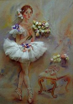 ballet dancer wearing tulle tutu, holding a bunch of ribbon flowers