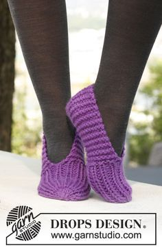 "This was my learn to knit project, 40+years ago!! Free pattern: Knitted DROPS slippers in ""Andes""."