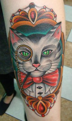 I love this so much.  I've been thinking about getting a brightly colored, traditional style gentleman version of my cat on my thigh.  At first I thought it was kind of a stupid idea, but it's been like a year at least and I still want it...