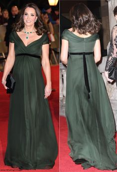 The Duke and Duchess of Cambridge attended the glittering EE British Academy Film Awards ceremony at the Royal Albert Hall tonight. Estilo Kate Middleton, Kate Middleton Style, Celebrity Maternity Style, Maternity Fashion, Duchess Kate, Duchess Of Cambridge, Lady Diana, Royals, Green Gown