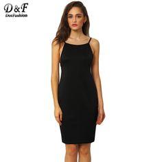 Sheinside 2016 Sexy Fitness Women Black Sleeveless Spaghetti Strap Sheath Slim Backless Sexy Bodycon Midi Dress