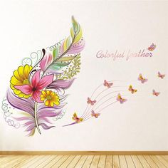 Colorful Feather With Butterfly Wall Sticker