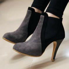 Hochhackige Stiefeln vom europäischen Stil mit Mischfarbe und Spitzen-Zehen