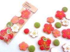 日本人のおやつ♫(^ω^) Japanese Sweets 和風梅型クッキー。Japanese Inspired Cookies 焼菓子屋さん