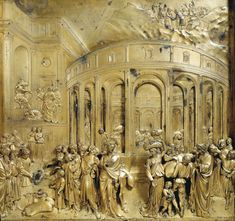 Discovery of the Golden Cup 1425-52 | Gilded bronze, 80 x 79 | Baptistry, Florence | Lorenzo Ghiberti