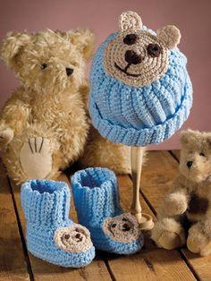 Crochet - Patterns for Children & Babies - Hat Patterns - Teddy Bear Set Crochet Baby Sweater Pattern, Crochet Baby Sweaters, Crochet Baby Booties, Baby Knitting, Crochet Hats, Crochet Teddy, Crochet Winter, Crochet For Kids, Baby Hat Patterns